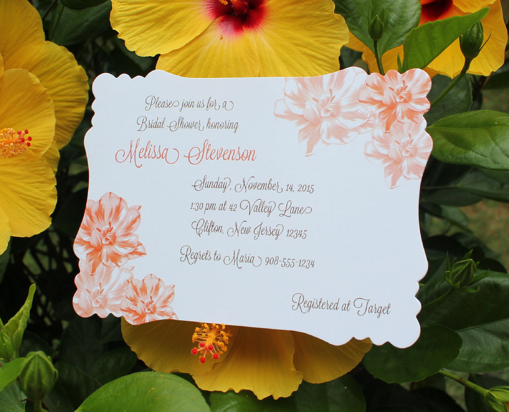 Peach Flowers  Bridal Shower Invitation