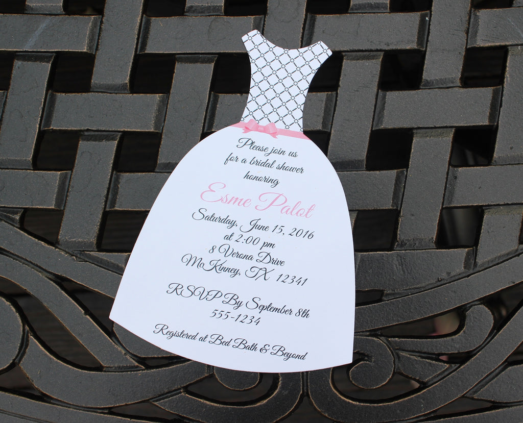 Lattice and Bow Bridal Shower Invitation