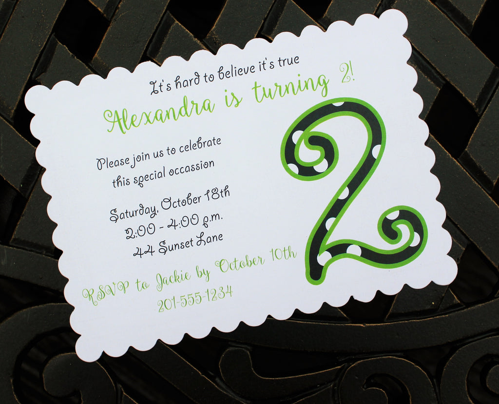 Lime Green & Black Girls Birthday Invitation