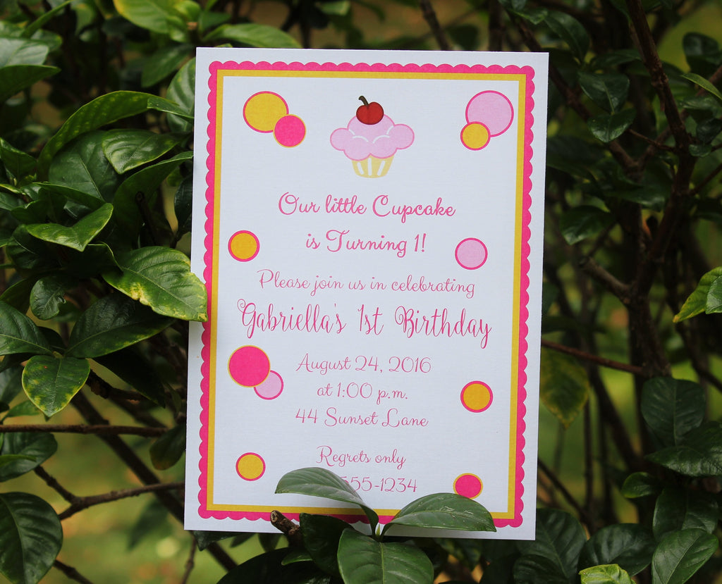 Girls Cupcake Birthday Invitation