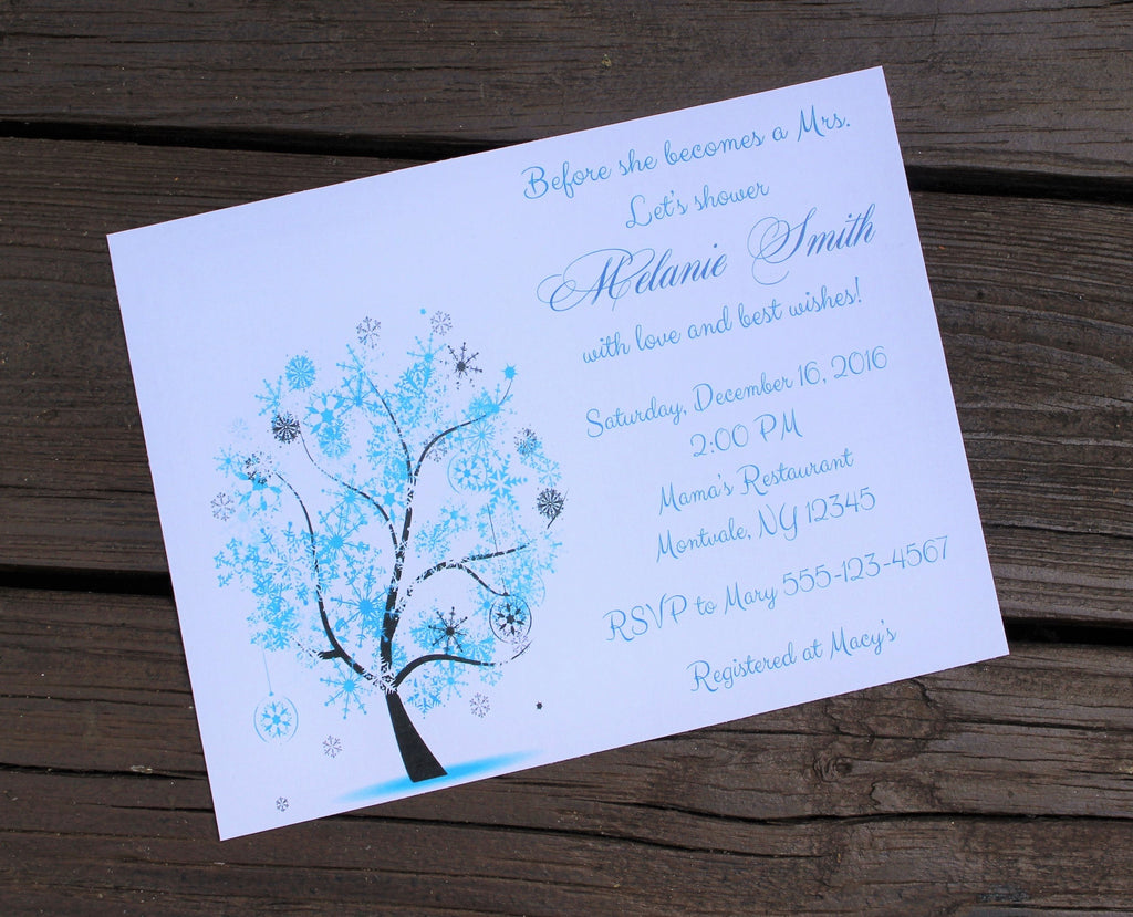 Winter Tree Bridal Shower Invitation