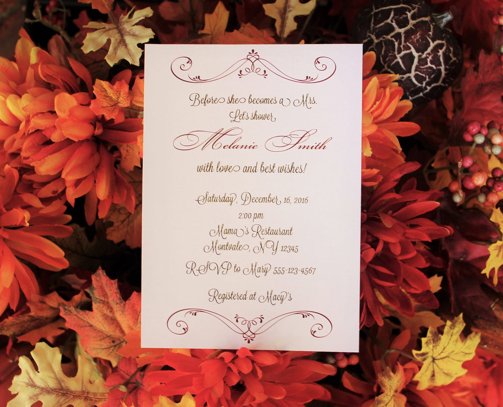 Double Flourish Bridal Shower Invitation