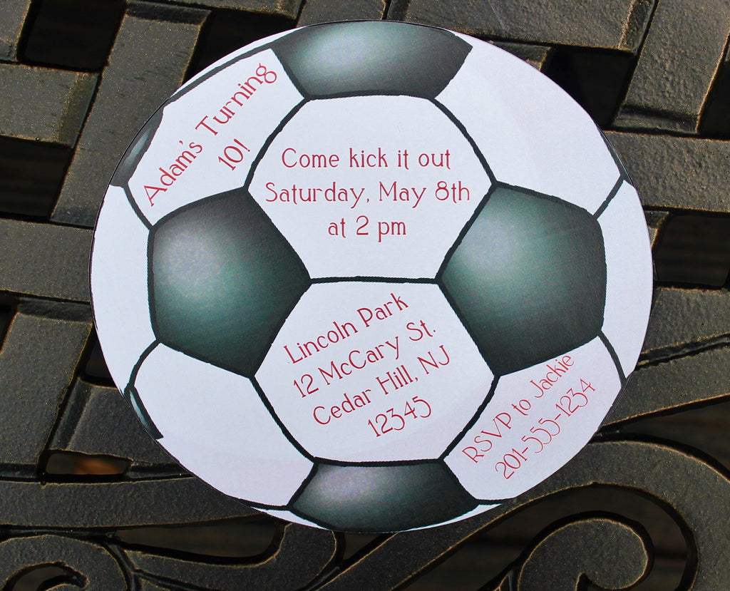 Soccer Ball Birthday Invitation For Boy and Girl