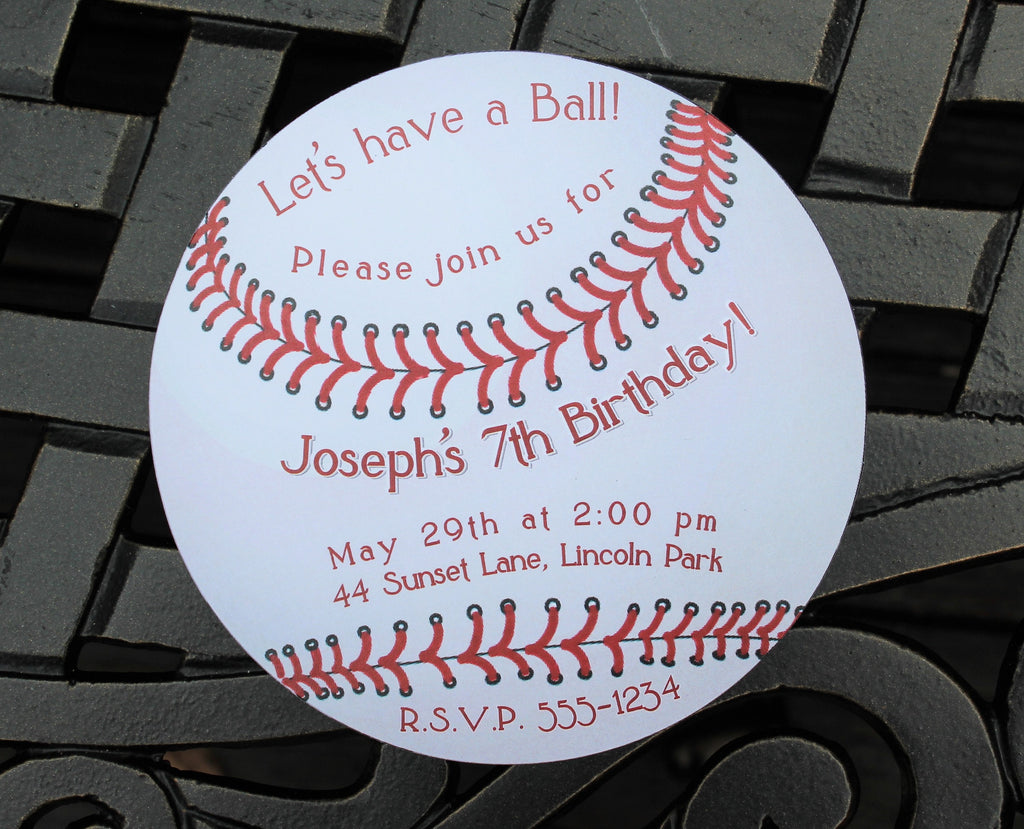 Baseball Ball Birthday Invitation