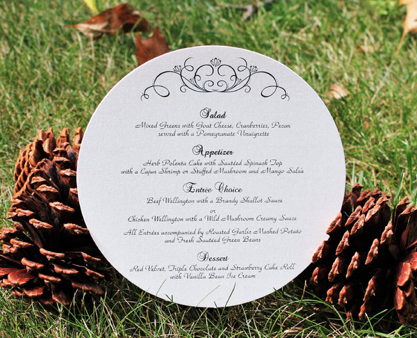 Ivory Heart Scroll Round Menu Card