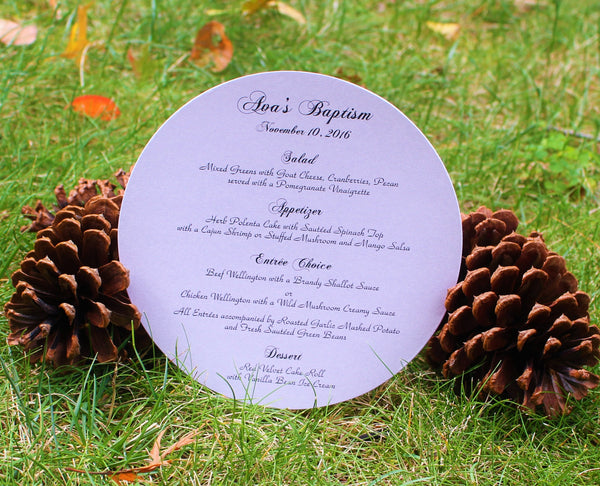 Elegant Round Menu Card - Purple