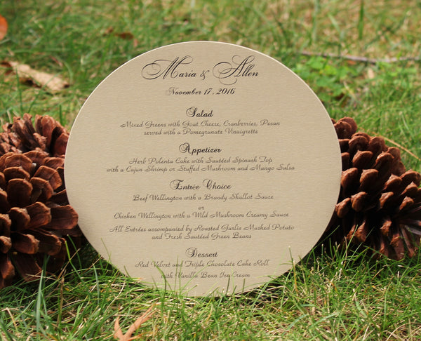 Gold Round Menu Card