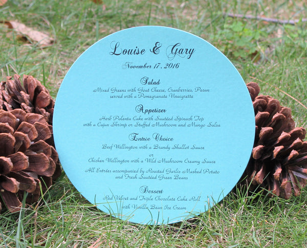 Tiffany Blue Round Menu Card