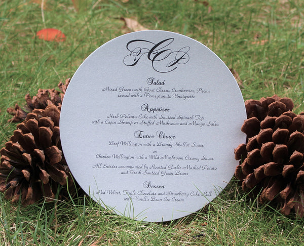Initials Round Menu Card