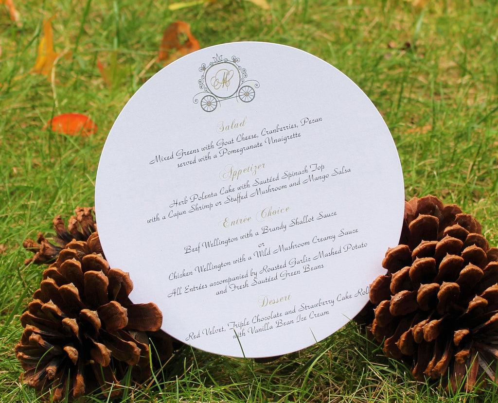 Princess Carriage Round Menu Card