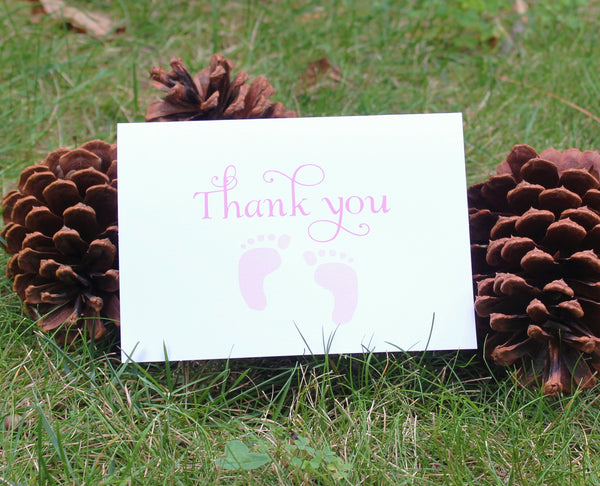 Pink Feet Girls Baby Shower Thank You Card