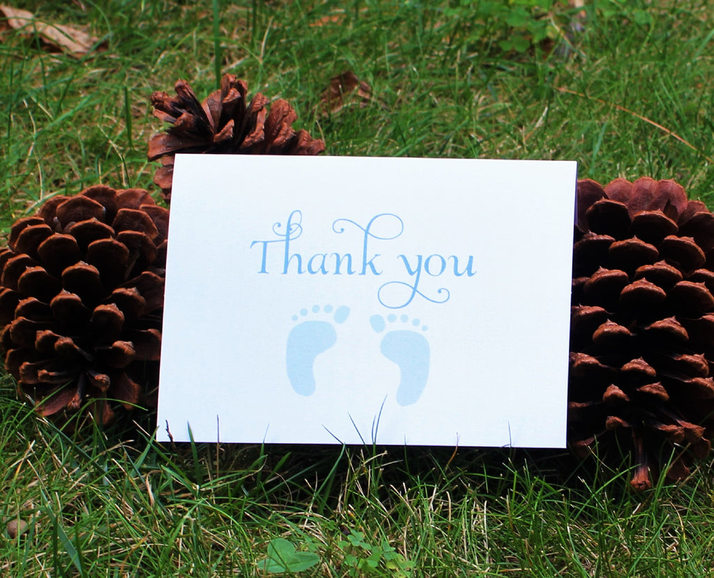 Blue Feet Boys Baby Shower Boy Thank You Card