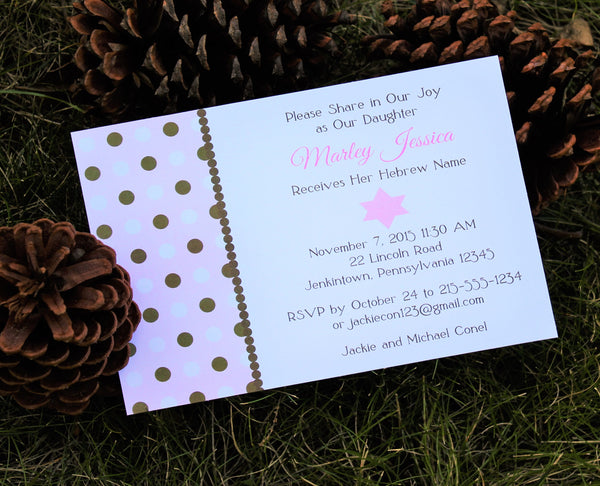 Polka Dot Brit Bat Baby Naming Invitation