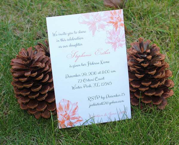 Brit Bat Baby Naming Invitation Flower Design