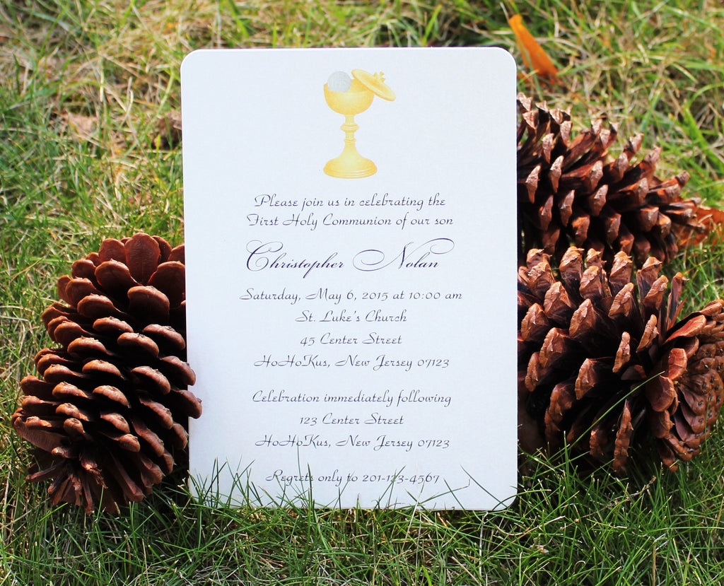 First Communion Chalice Invitation for Boy or Girl