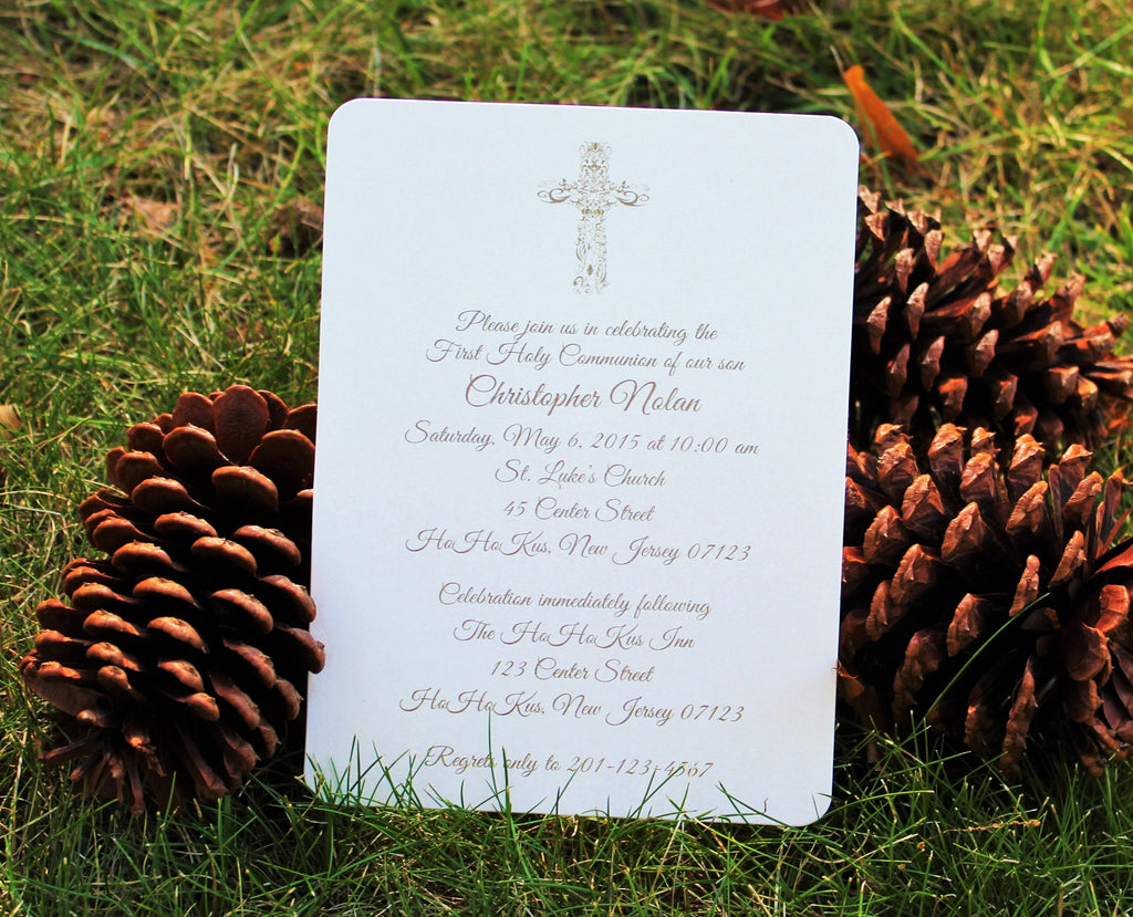Ornate Cross Baptism - Communion Invitation