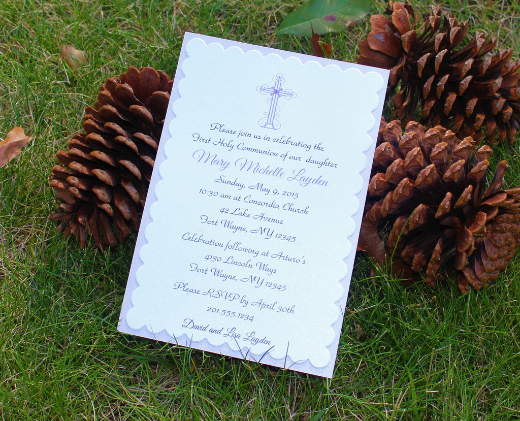 Girls Purple Cross Baptism - Communion Invitation
