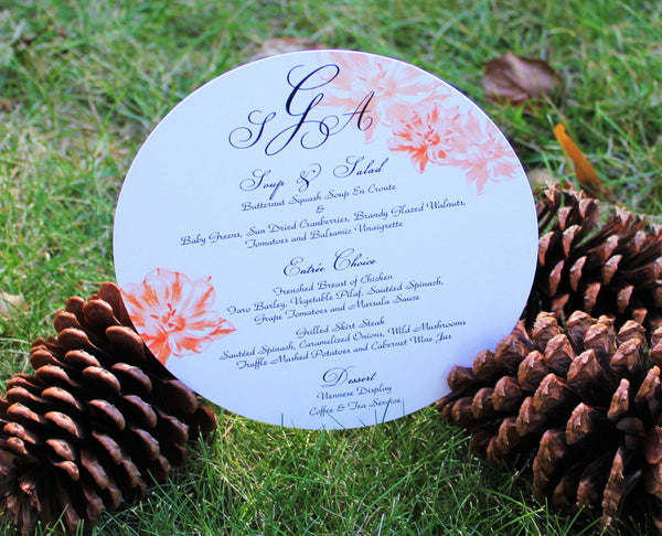 Ornate Peach Flowers Menu Card