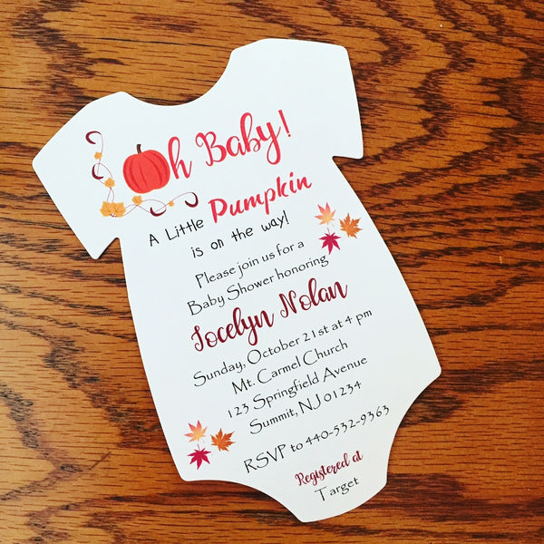 Pumpkin Halloween Baby Shower Invitation