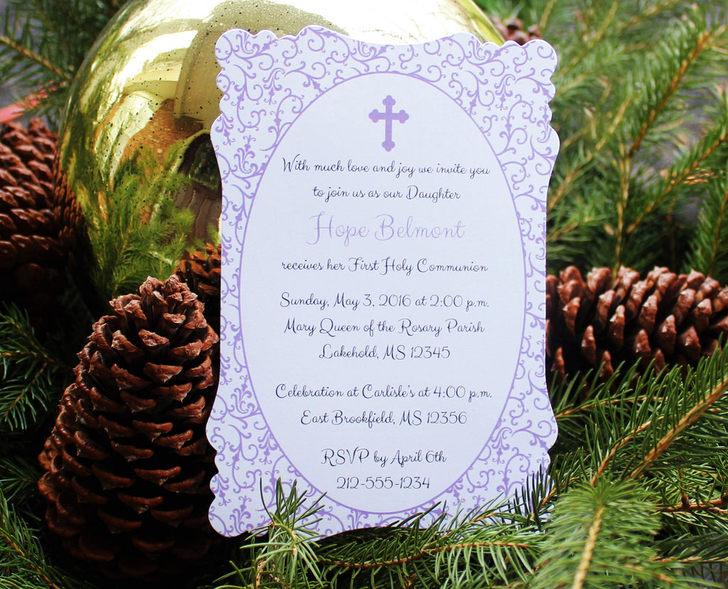 Purple Flourish Baptism-Communion Invitation