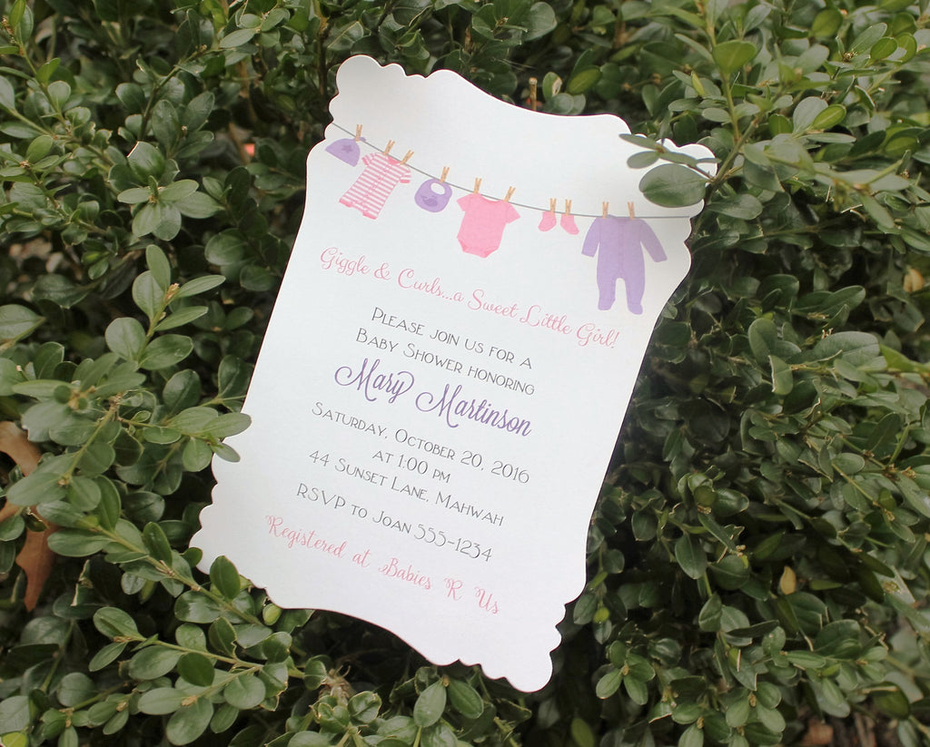 Girl Clothesline Baby Shower Invitation