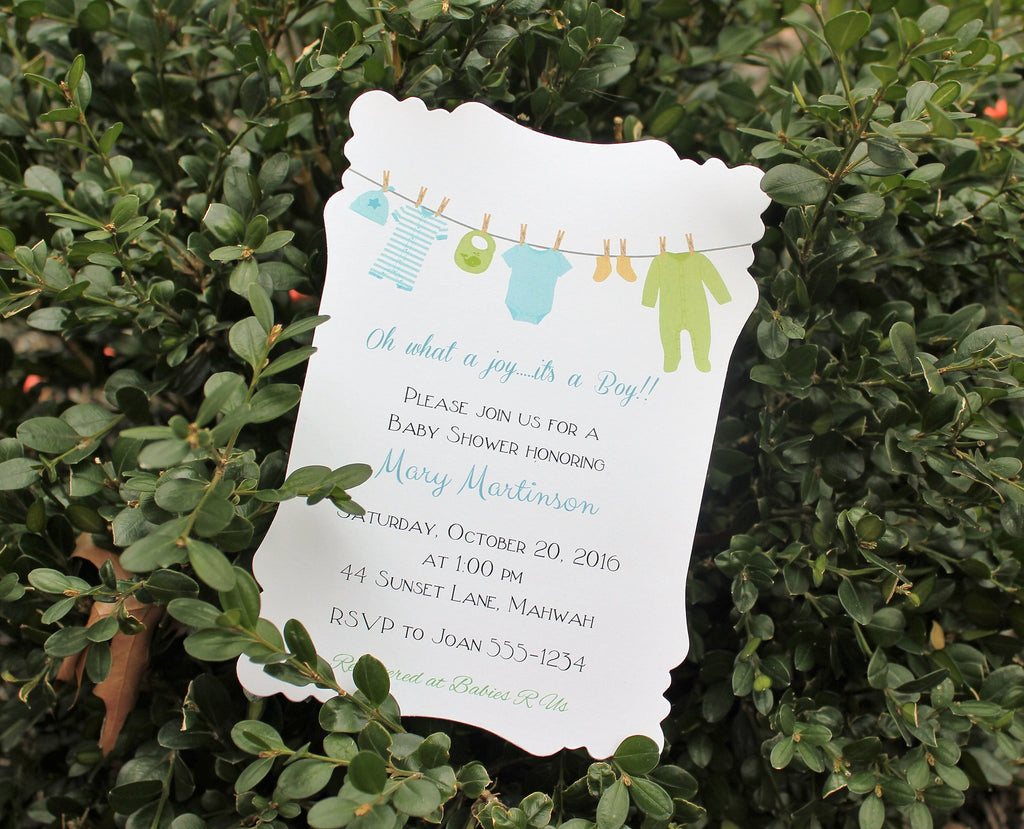 Boys Clothesline Baby Shower Invitation
