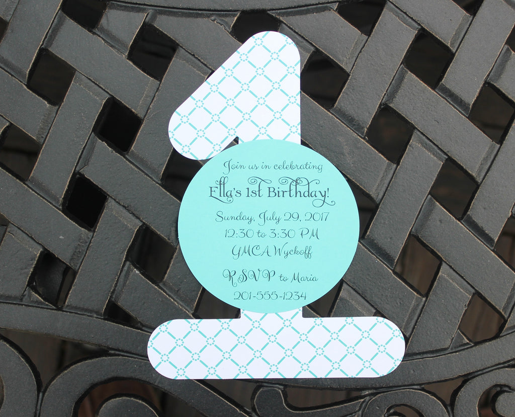 Girls First Birthday Party Invitation - Tiffany Blue