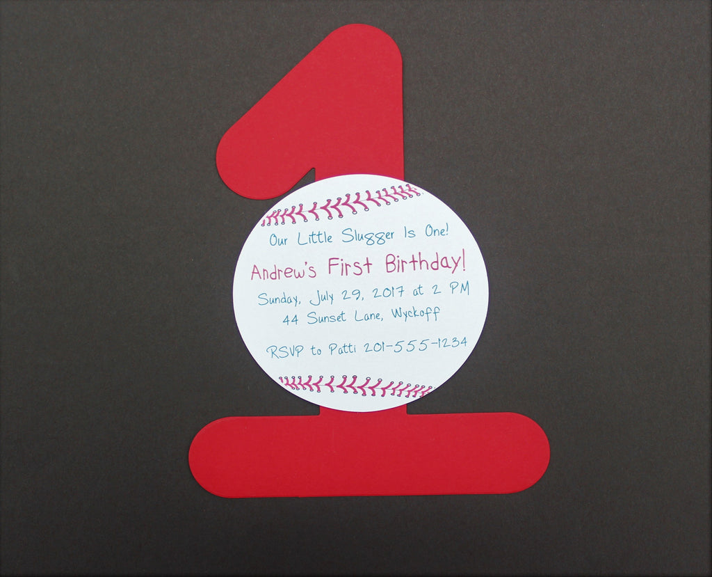 First Birthday Party Invitation - Baseball