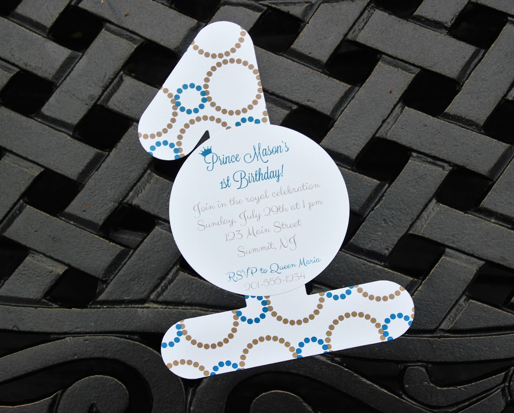 Boys Prince Blue and Gold First Birthday Invitation
