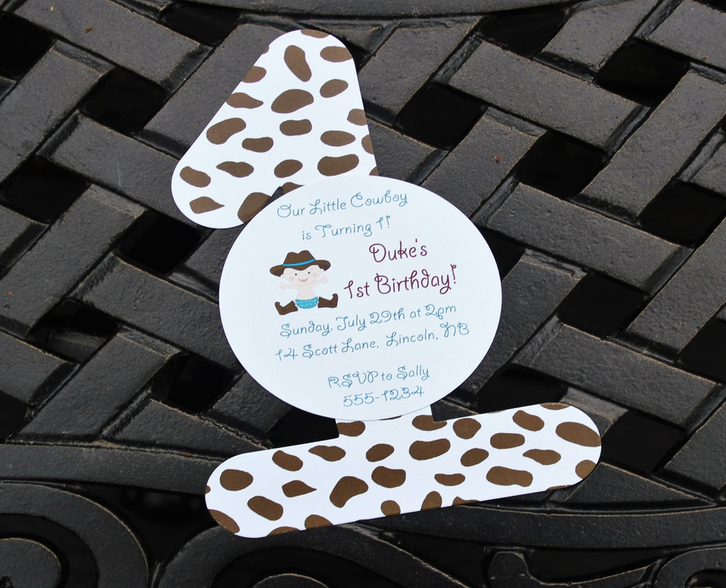 Cowboy Boys First Birthday Invitation