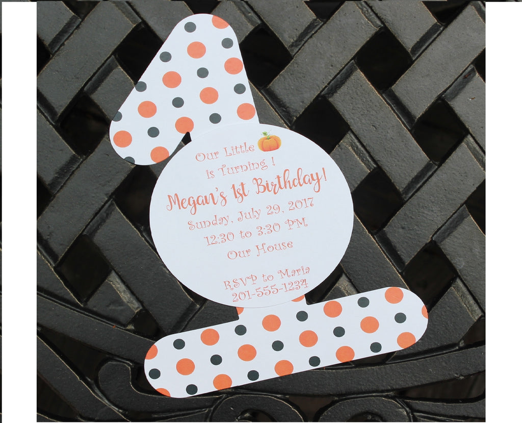 Halloween Pumpkin First Birthday Party Invitation