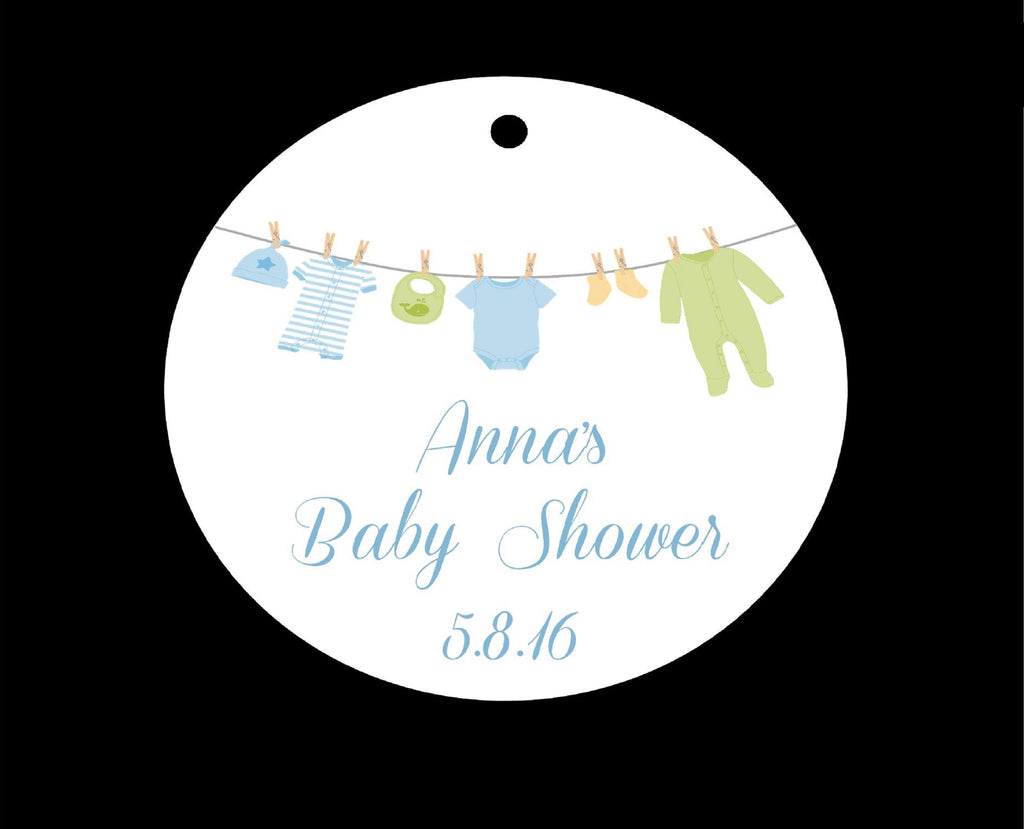 Clothesline Boy or Girl Baby Shower Favor Tags