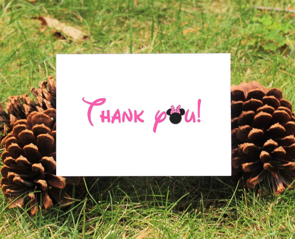 Mnnie Mouse Thank You Card - Pink or Red