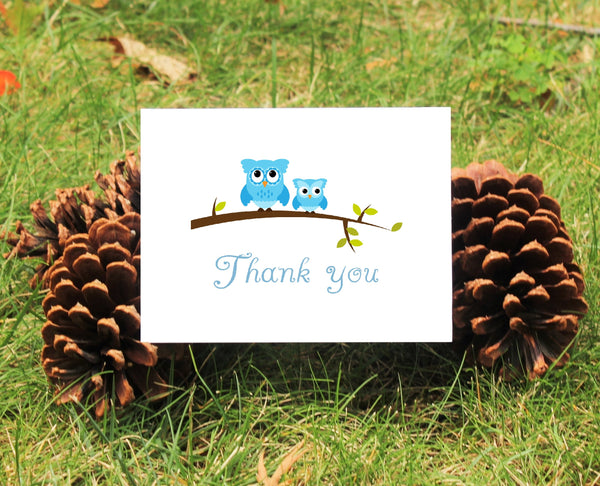 Owl Thank You Cards - Pink or Blue