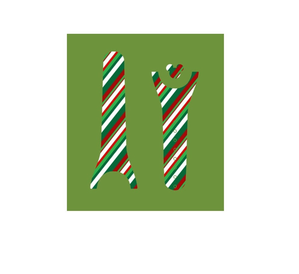 Christmas Green & Red Stripes Decal For Magic Band