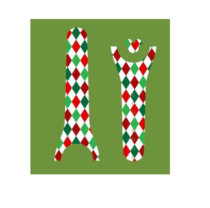Christmas Green & Red Diamonds Decal For Magic Band