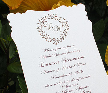 Party invitations: bridal showers