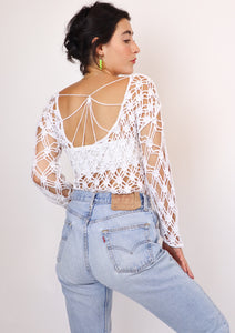 Open back crochet top