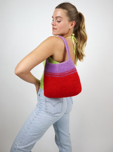 Purple and red wool bag