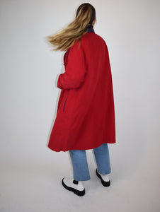 Red and navy trenchcoat