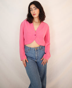 Pink silk crop top
