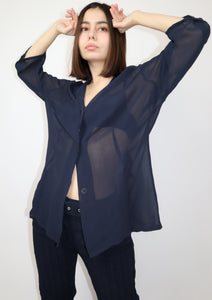 Navy sheer blouse