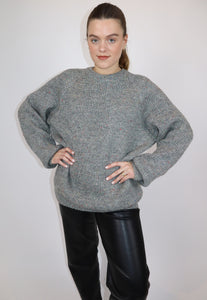 Grey speckled wool jumper