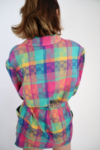 Multicoloured checked blazer
