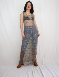 Crochet flower maxi dress