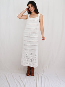 White crochet knit dress