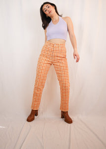 Yellow and orange checked trousers