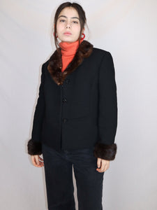 Black wool and fur trim jacket