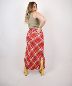 Red plaid pattern skirt.