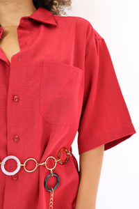 Bright red shirt